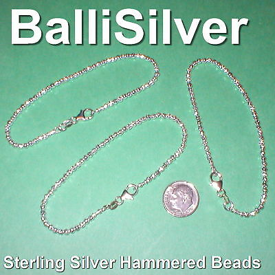 6 pcs Sterling Silver 925 3mm HAMMERED BEAD BRACELETS