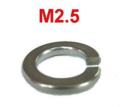 M2.5 Stainless Steel Spring Washers - 2.5mm Stainless Spring Washers x50