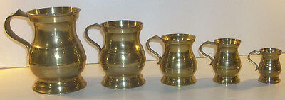 Vintage Set of Five Heavy English Solid Brass Measures