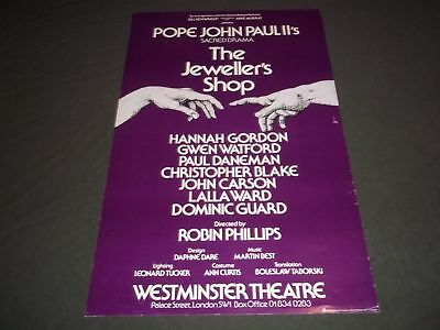 1982 The Jeweller's Shop Westminster Theater Poster Hannah Gordon - P 204