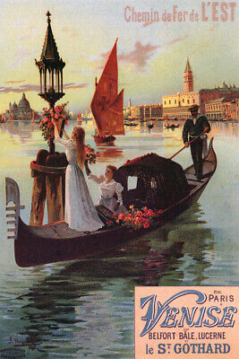 Venice Italy Gondola Grand Canal Doge's Palace Travel Vintage Poster Repro