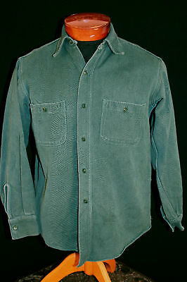 Vintage 1930's-1940's Green Twill Cotton Work Shirt Sz Small