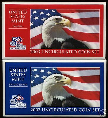 2003  Us Mint-P&D  Uncirculated 20 Coin Set~With States