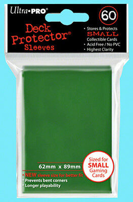 60 Ultra Pro DECK PROTECTOR Small Size GREEN Gaming Card Sleeves NEW Yu-Gi-Oh