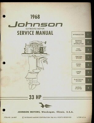 1968 johnson outboard motor 33 hp service manual 29 99 picclick rh picclick com Vintage Johnson Outboard 1968 Johnson 6 HP Outboard