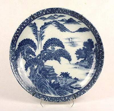 ANTIQUE JAPANESE BLUE & WHITE POTTERY CHARGER PLATE LANSCAPE PEOPLE HOUSES OLD