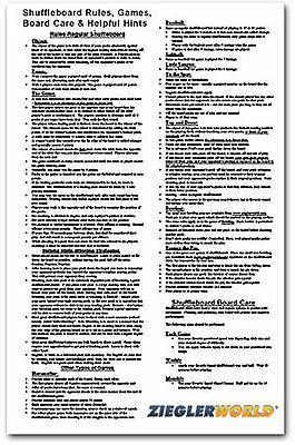 Table Shuffleboard Rules & Regulations Poster !!!!!!!!!