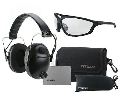 Titus Electronic Smart Noise Cancelling Ear Muffs & Eye Protection Fit Over Rx