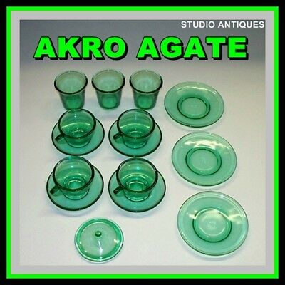 Vintage AKRO AGATE Toy Cups Saucers GREEN STIPPLED Lot