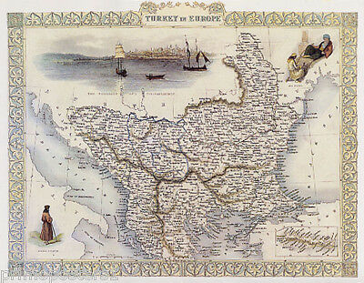 1800'S Map Turkey In Europe Constantinople Macedonia Repro Poster