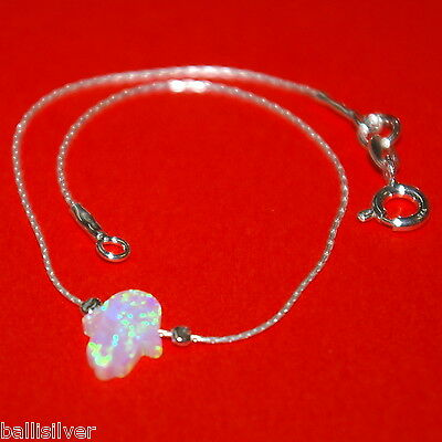 4 pieces Sterling Silver 925 Chain BRACELETS with WHITE OPAL HAMSA Charms Lot