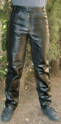 Heavy No-Seam Motorcycle Leather Pants Jean Style New