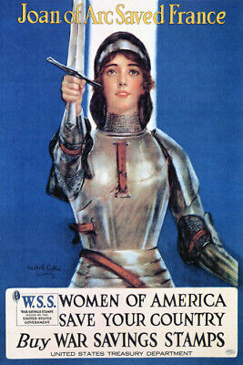 WAR JOAN OF ARC SAVED FRANCE WOMEN OF AMERICA SAVE USA VINTAGE POSTER REPRO
