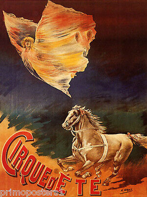 Circus Horse Girl Flying Cirque Ete French Vintage Poster Repro