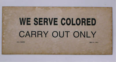 Black Segregation Sign Carry Out Only 1931