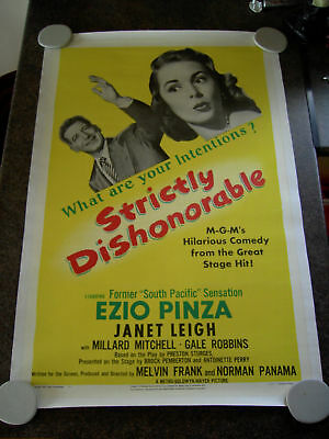 STRICTLY DISHONORABLE US 1 SHEET 1951 LINEN BACKED RARE what are your intentions