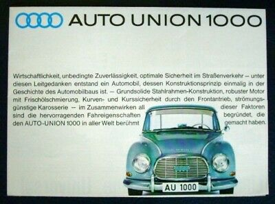 Auto Union 1000 + 1000 S Coupe Brochure 1962 (German).