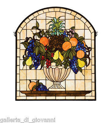 Tuscan Fruit  Stained Glass Window  Grapes Pear Orange