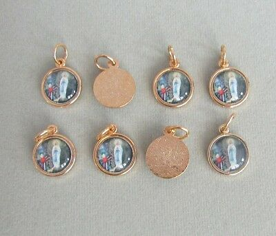 Lot 8 Lady Lourdes Charm ITALY Holy Medal Rosary Bracelet Small A103 GOLD *SALE