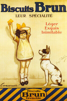 Child Biscuit Cookies Brun Dog Children France French Food Vintage Poster Repro