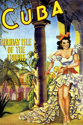 Cuba Holiday Isle Of The Tropics Conga Dance Travel Vintage Poster Repro