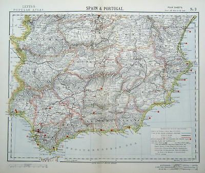 Spain + Portugal 4 Statistical Maps Antique Letts 1883