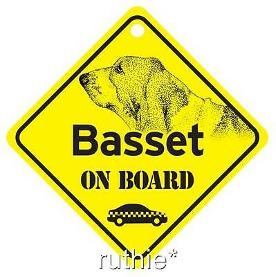Basset Hound On Board Dog Window Sign Made in USA