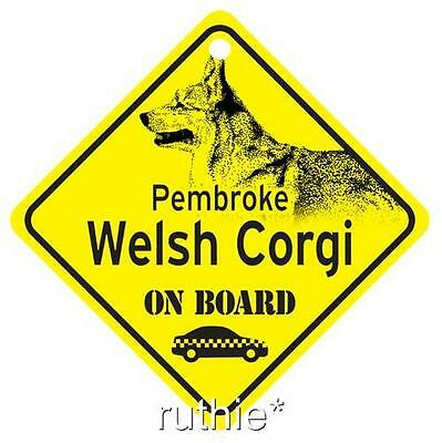 Pembroke Welsh Corgi On Board Window Sign Made in USA
