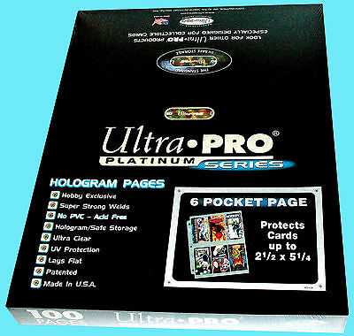100 ULTRA PRO PLATINUM 6-POCKET Card Pages NEW Sheets Protectors Sports Gameday