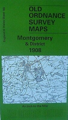 Old O S Map Montgomery Newtown Bishops Castle & Plan Montgomery 1908 S165 New