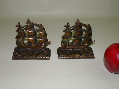 Antique Solid Bronze Bookends Galleon Nautical Ship