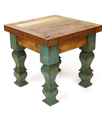 Rustic End Table-Turquoise-Mexican-18x18x17-Furniture-Primitive-Old Door-Antique