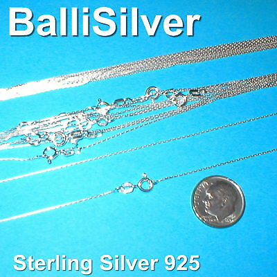 20 Sterling Silver 925 0.6mm Fine Chain Necklaces 16.5""