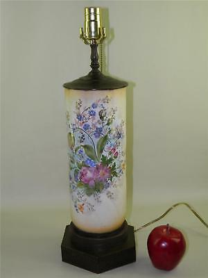 Antique Hand Painted Flowers Ornate Brass Base Lamp