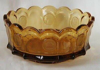 "Fostoria Frosted Coin Glass Amber 8"" Bowl"