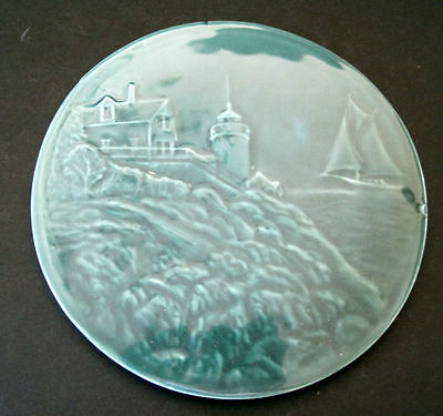 "8"" Round Edgecomb Pottery Round Trivet Lighthouse Boat"
