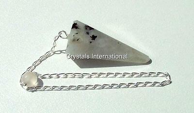 Natural Rainbow Moonstone Pendulum with Sterling Silver Chain