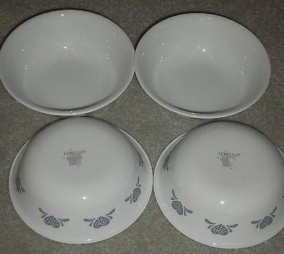 CORNING CORELLE BLUE HEARTS LOT OF 4 CEREAL BOWLS