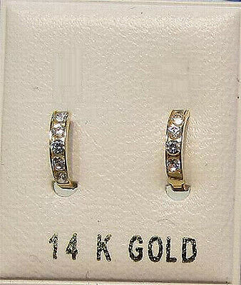 New 14K Gold Baby Huggy Earrings w/Dia-Free Shipping
