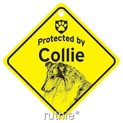 Protected by Collie Dog Window Sign Made in USA
