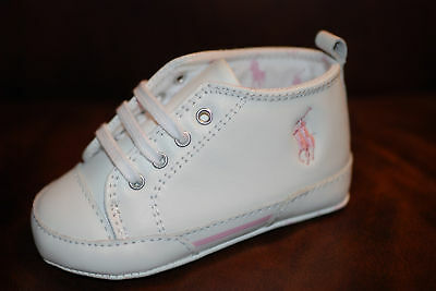 Baby Shoes: Ralph Lauren Layette...Girls White/Pink Leather.6 -9 Mo / Size 3