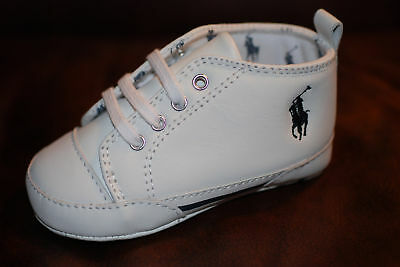 Baby Shoes: Ralph Lauren Layette.White Leather..6 -9 Mo