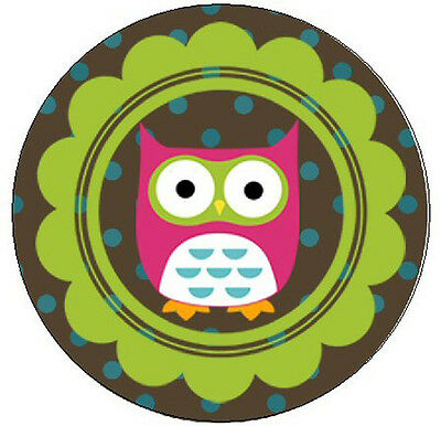 """CUTE PINK OWL -  1"""" Round Labels Seals / Stickers"""