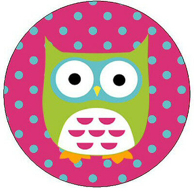 """GREEN OWL IN PINK - 1"""" Round Labels Seals/Stickers"""