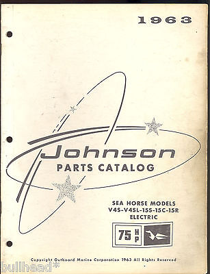 1963 Johnson 75Hp V4S-V4Sl-15S-15C-15R Outboard Motor Parts Manual / 379275