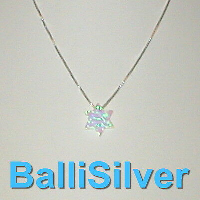 10mm WHITE OPAL STAR of DAVID Charm with Sterling Silver 925 BOX Chain Necklace