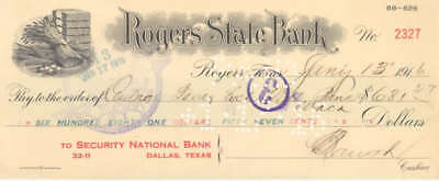 1916 State Bank Check Rogers Texas National Dallas