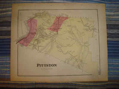 1873 Antique Pittston Township Pennsylvania Handclr Map