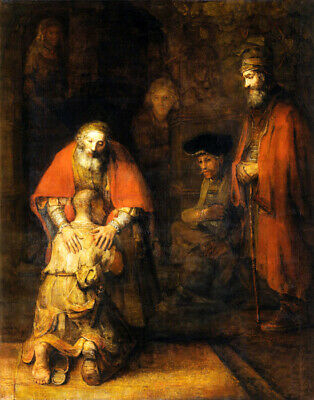 Return Of The Prodigal Son Religion Painting By Rembrandt Repro