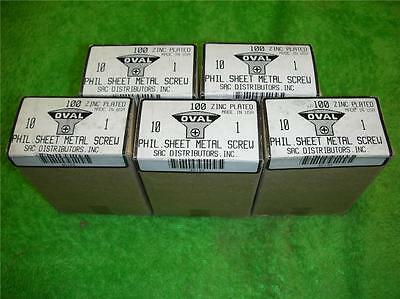 "500 10 x 1"" PHILLIPS OVAL HEAD SHEET METAL SCREWS TRIM SCREW USA MADE 5 BOXES"